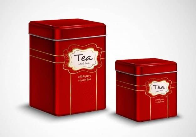 lata de metal para guardar té