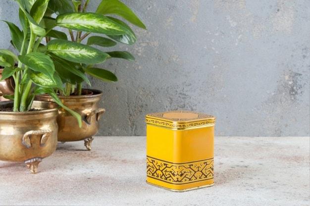lata amarilla para té