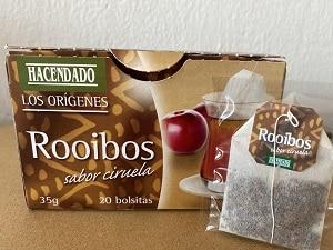 La caja de té rooibos Hacendado de Mercadona